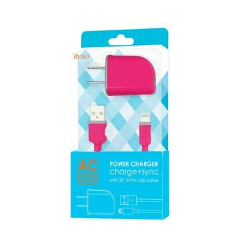REIKO IPHONE 6 1 AMP PORTABLE TRAVEL ADAPTER CHARGER WITH CABLE IN HOT PINK TC09-8PHPK
