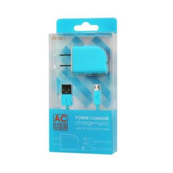 REIKO MICRO USB 1 AMP PORTABLE MICRO TRAVEL ADAPTER CHARGER WITH CABLE IN BLUE TC09-MICROBL