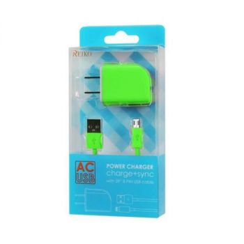 REIKO MICRO USB 1 AMP PORTABLE MICRO TRAVEL ADAPTER CHARGER WITH CABLE IN GREEN TC09-MICROGR