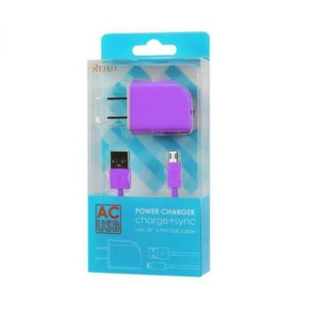 REIKO MICRO USB 1 AMP PORTABLE MICRO TRAVEL ADAPTER CHARGER WITH CABLE IN PURPLE TC09-MICROPP