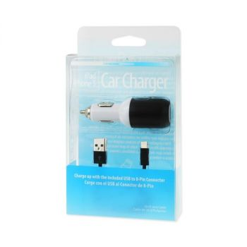 REIKO IPHONE 5/ SE 2 AMP USB CAR CHARGER WITH CABLE IN BLACK USBCC03-IPHONE5BK