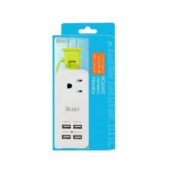 Reiko 4.1 Amp 4 Usb Home Wall Charging Station In Green USBTC-4A5VGR