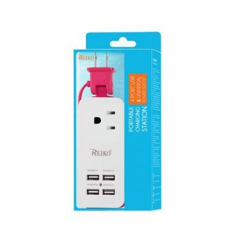 Reiko 4.1 Amp 4 Usb Home Wall Charging Station In Hot Pink USBTC-4A5VHK