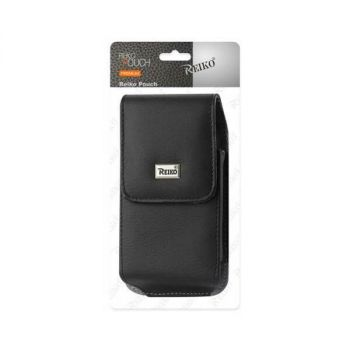 Reiko Vertical Leather Pouch With Magnetic Closure and Belt Loop In Black (5.8 x 3.0 x 0.7 Inches) VP385B-583007BK