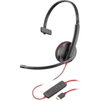 Plantronics Blackwire C3210 Headset - Mono - USB Type A - Wired - 20 Hz - 20 kHz - Over-the-head - Monaural - Supra-aural - Noise Cancelling Microphone - Black