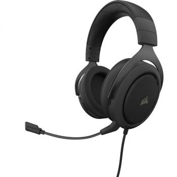 Corsair HS50 Pro Gaming Headset - Stereo - Mini-phone (3.5mm) - Wired - Over-the-head - Binaural - Circumaural - Noise Cancelling, Uni-directional Microphone - Carbon