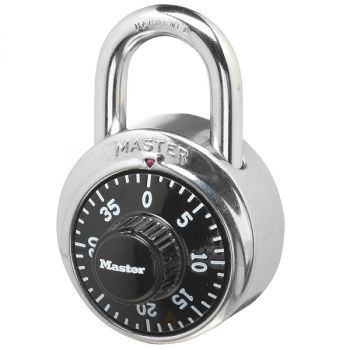 Master Lock P37621 1500D Combination Padlock - Stainless Steel - Black Dial - 1-7/8 Inch Body Width - 9/32 Inch Shackle Diameter