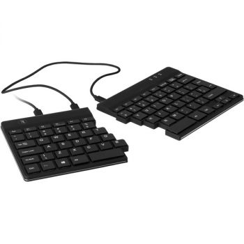 R-Go R-Go Split Ergonomic Keyboard, QWERTY (US), Black, Wired - Cable Connectivity - USB 2.0 Interface - English (US) - QWERTY Layout - Windows, Linux - Black