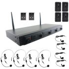 Pyle PDWM4560 UHF Quad-Channel Fixed-Frequency Wireless Microphone System